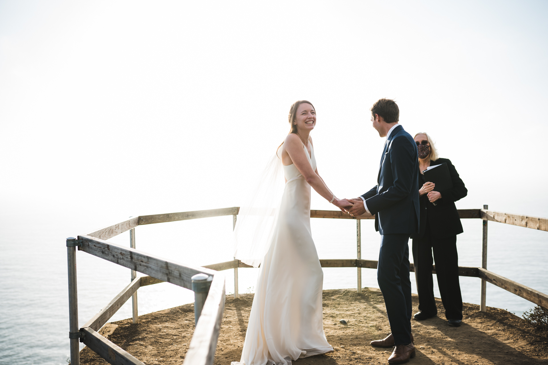 Golden Gate National Recreation Area Wedding Photo | An emotional moment during the beach cliffs ceremony