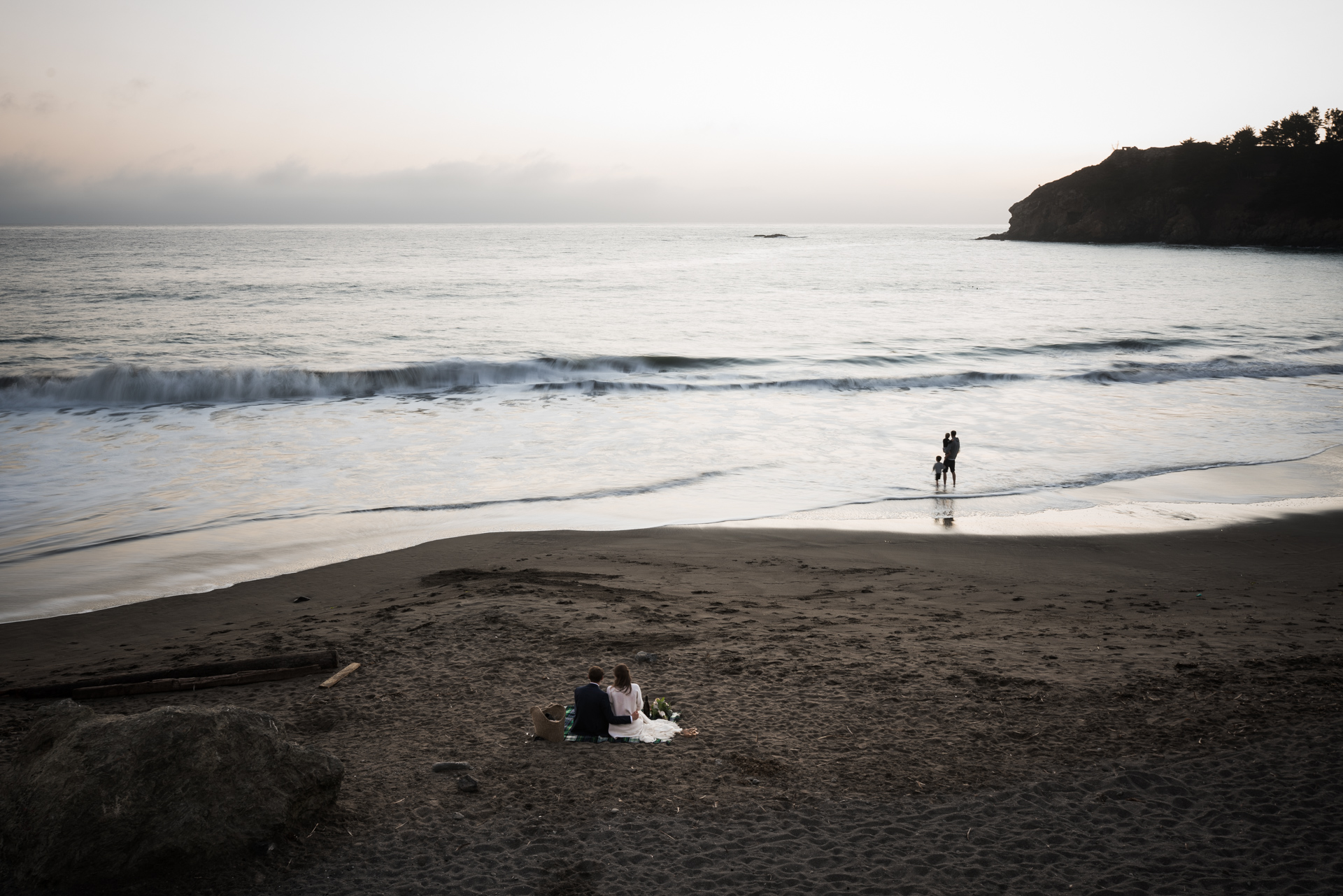 Muir Beach, Marin County - CA Beach Wedding Photographer | a few swimmers, and this father and son playing in the surf