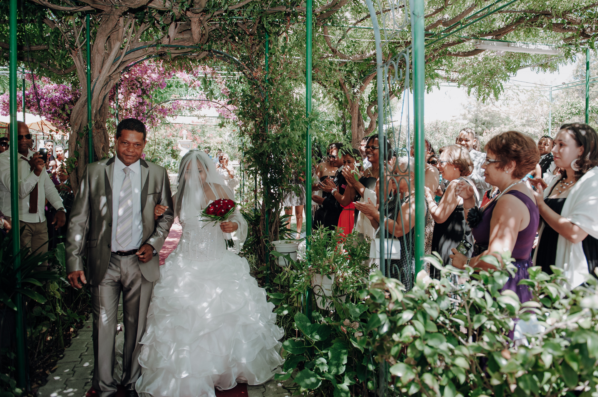 Portugal Wedding Ceremony Photo, Lisbon | the cascading floral pergolas adding a touch of whimsy and romance to the event
