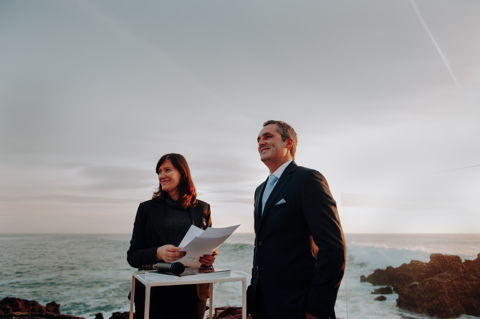 Farol Hotel - Cascais, Portugal - Design Hotels Wedding Pics | The groom smiles with pride at the beach ceremony