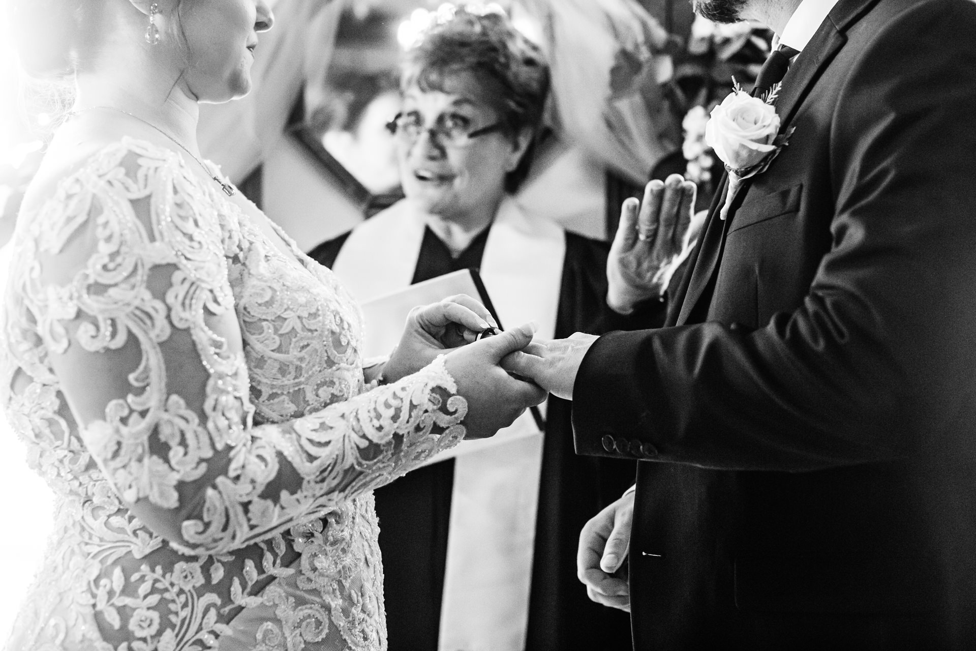 Gables Historic Inn Wedding Venue Ceremony Picture | The couple exchanges rings