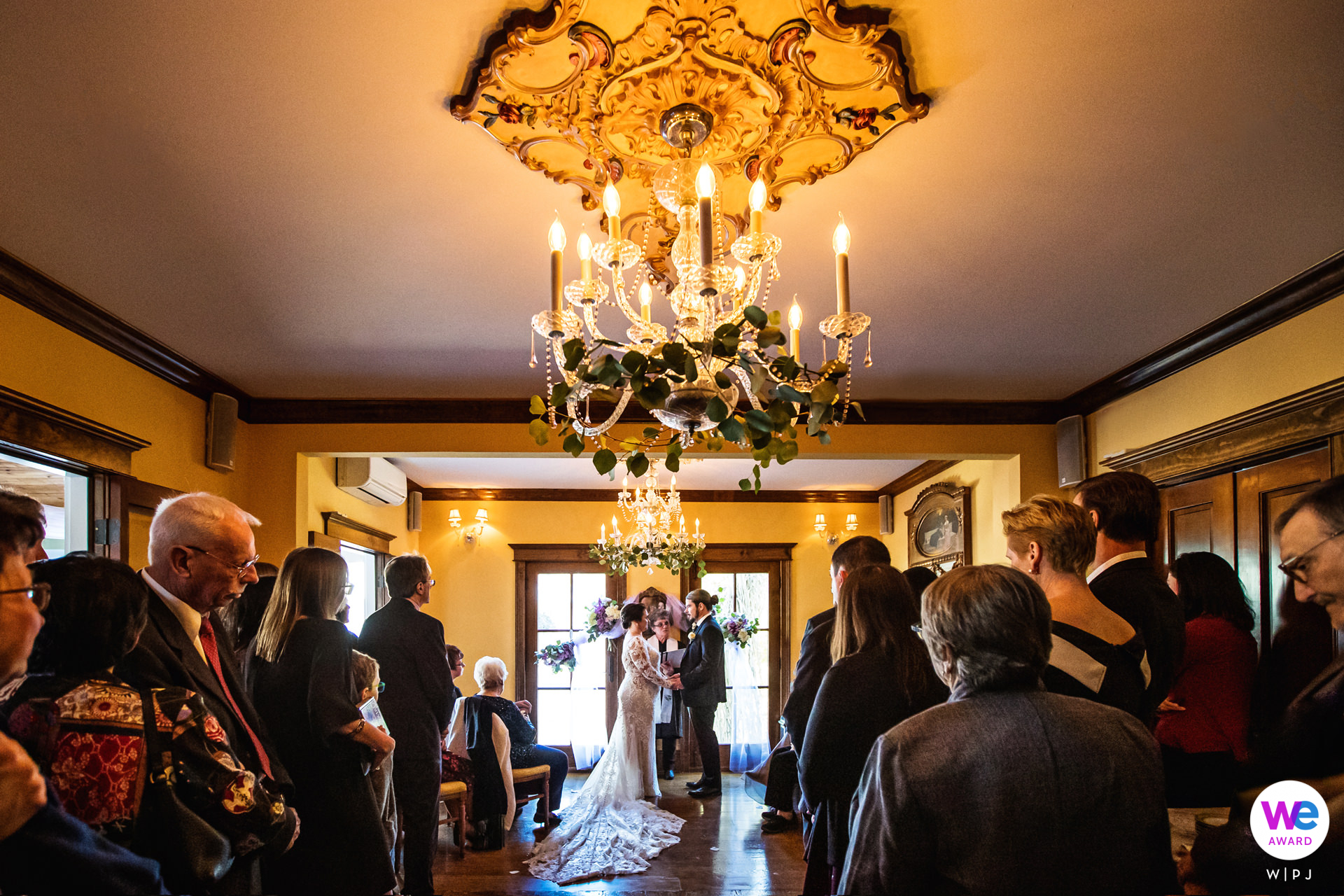 Wedding Photo from Gables, Beach Haven NJ - Jersey Shore | Guests stand around the couple during their intimate wedding ceremony