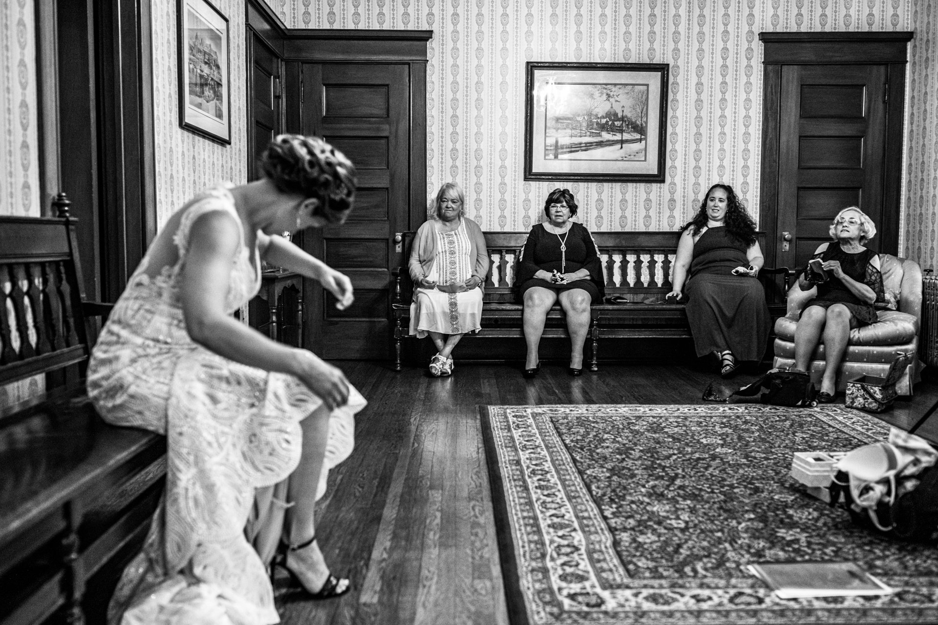 Summit Manor Wedding Venue for Historic Photos | The bride gets ready among her female family