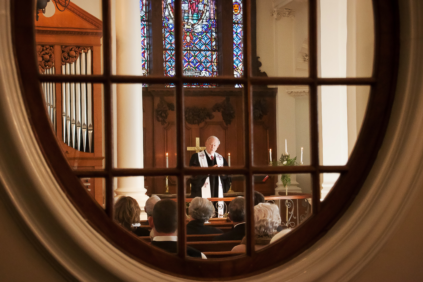 Sanctuary and Little Chapel Wedding Photography | The officiant preaches a homily
