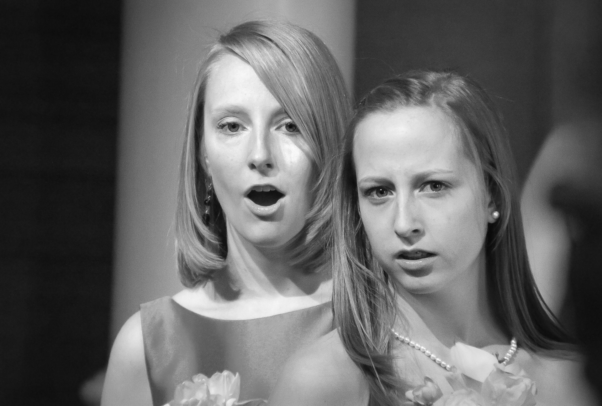 Glenn Memorial UMC Black and White Wedding Image | The daughters respond to the service