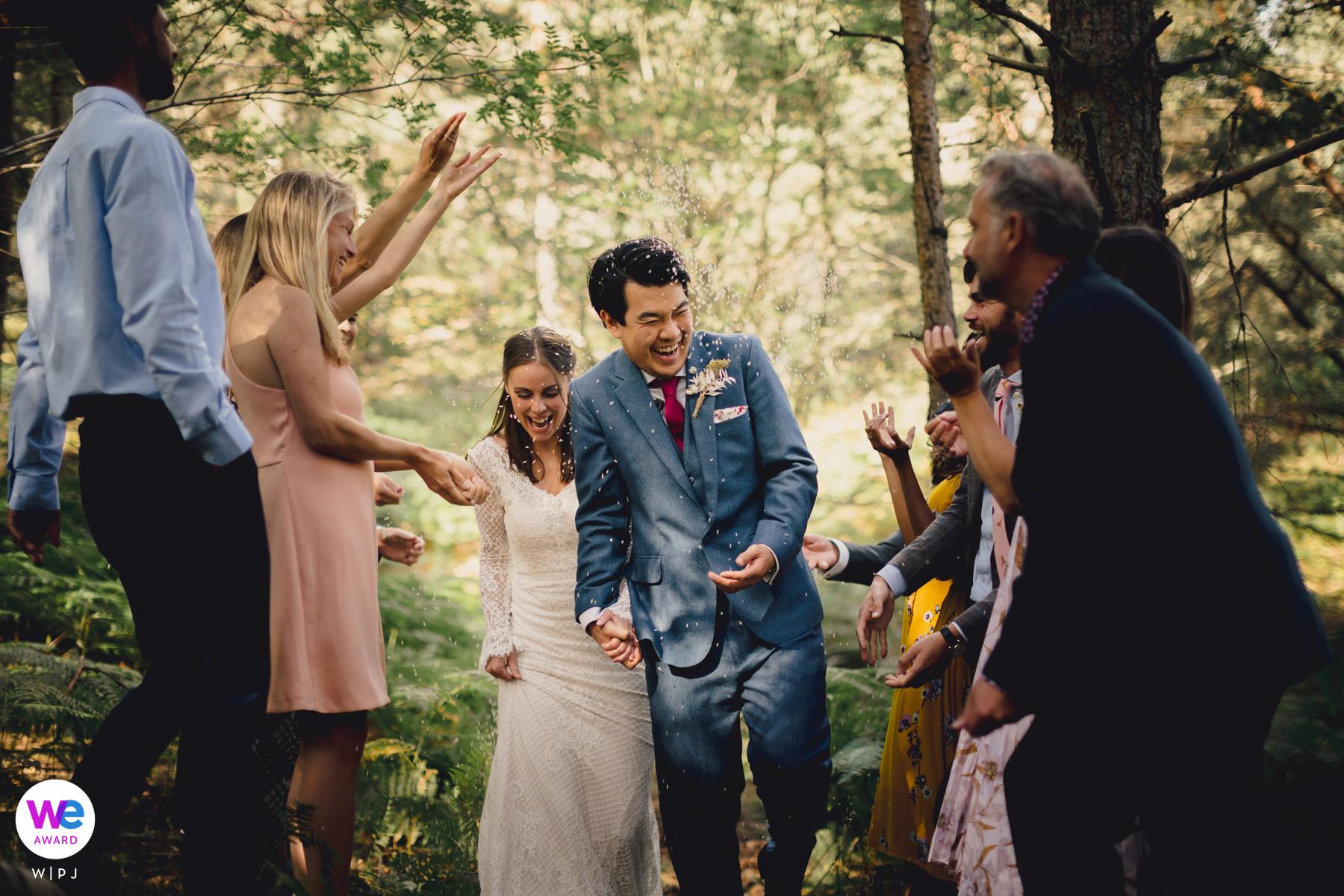 顶级苏格兰婚纱摄影| 在树林里童话般的环境中举行的亲密仪式