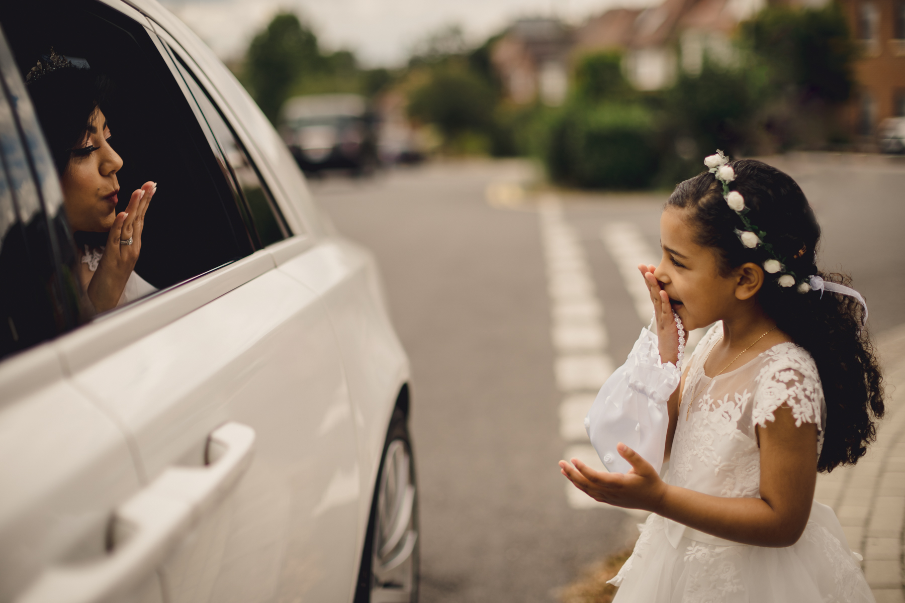 Chapel Wedding Photography in London | The bride in the car, en route to the church for her wedding ceremony