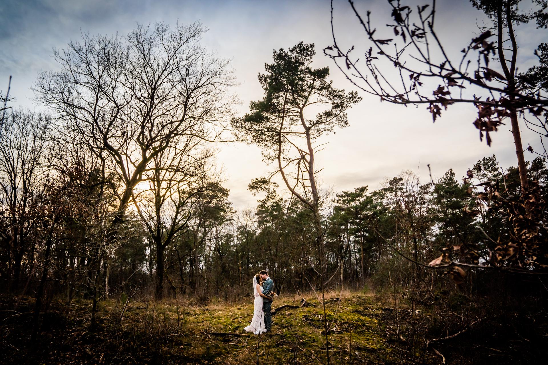 Strokerbos, Harderwijk NL Photos de mariage | En fin de journée, le couple est allé faire un petit tournage en forêt