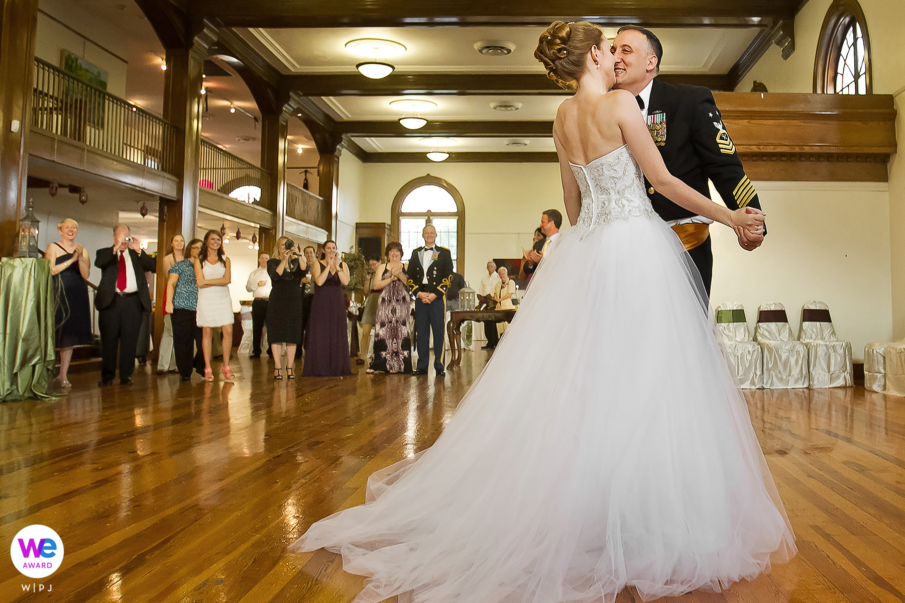 Cultural Center of Hattiesburg, Mississippi Wedding Pic | the happy bride and groom dance for the first time as a married couple