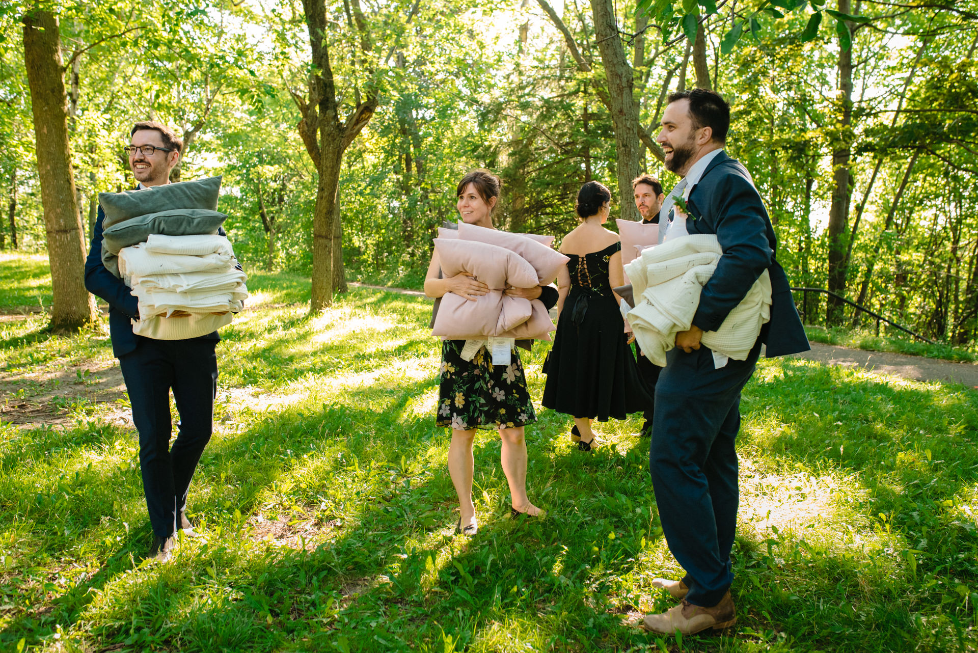 Mount Royal Park, Montreal, Quebec, Canada Wedding Image | Friends of the wedding couple helped carry all the decor