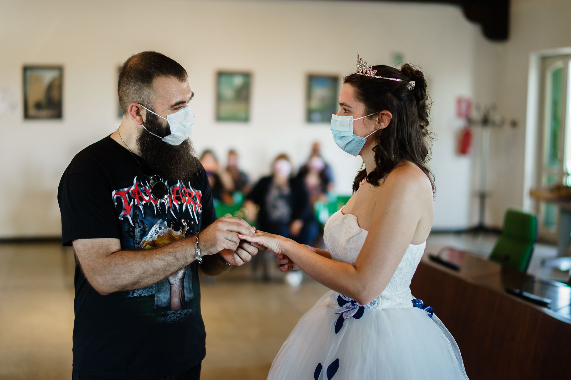 Castegnato City Hall, Italy Wedding Ceremony Photo | The face masks have been hiding the smiles of the bride and groom