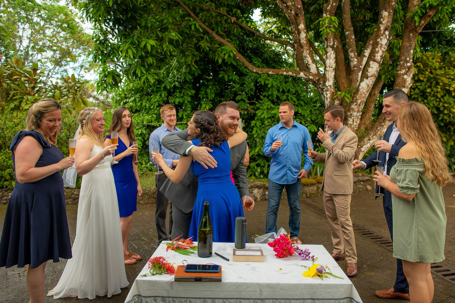 Outdoor Costa Rica Elopement Ceremony Photographer | The newlyweds are congratulated