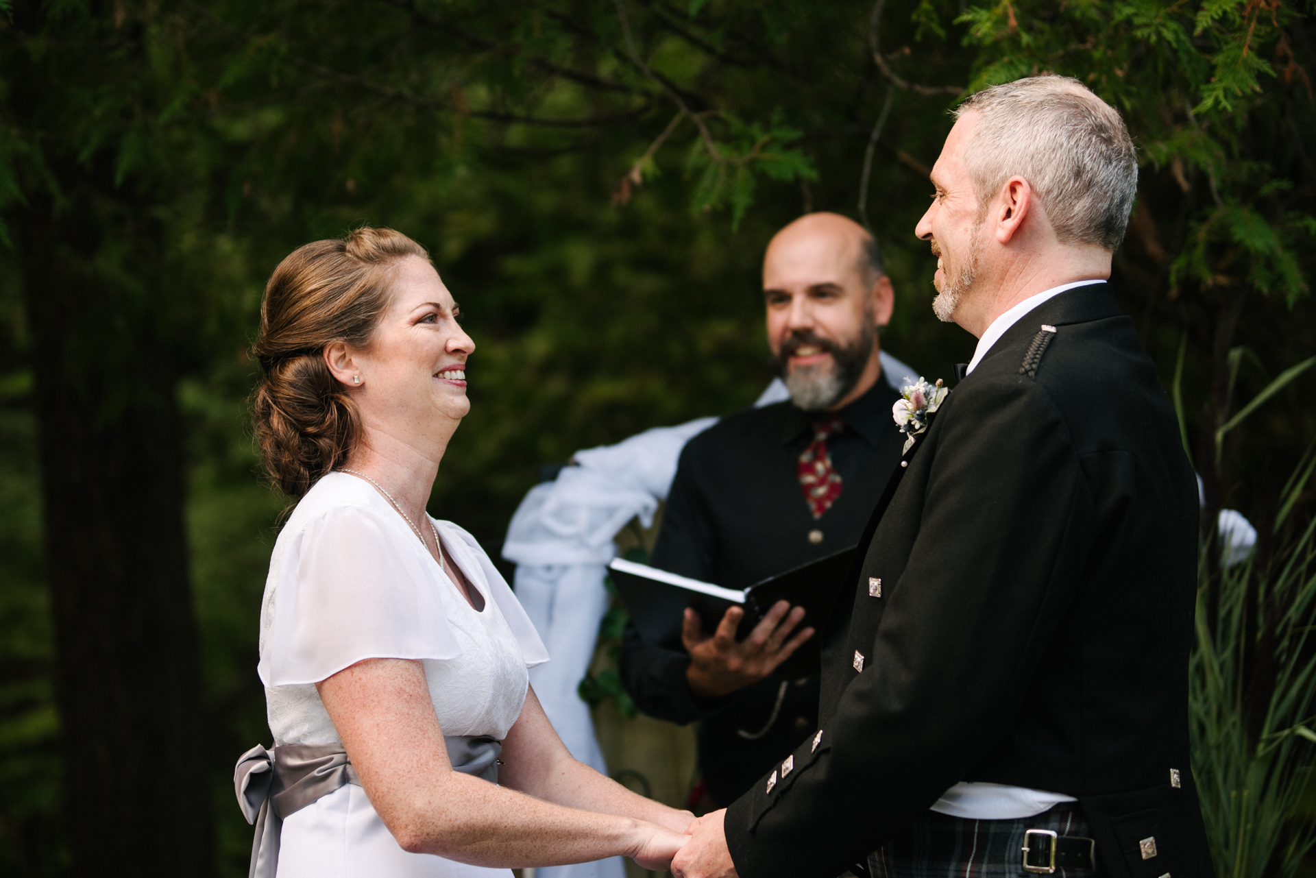 Kanata, Ottawa, Canada Outdoor Wedding Pics | The ceremony was in the backyard, in the shade of mature trees