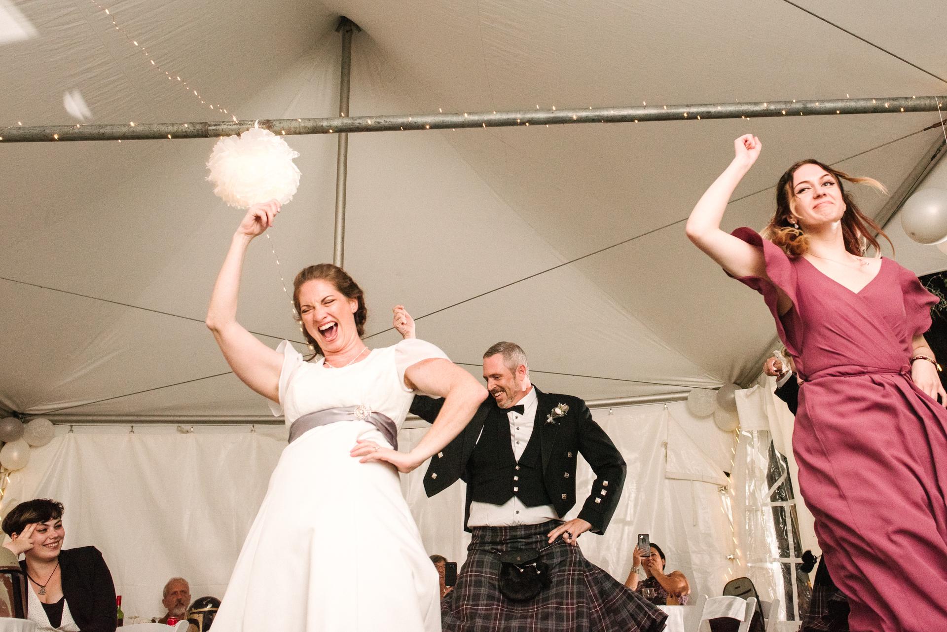 Kanata, Ottawa, Backyard Wedding Photo | Part of the first dance included a group dance