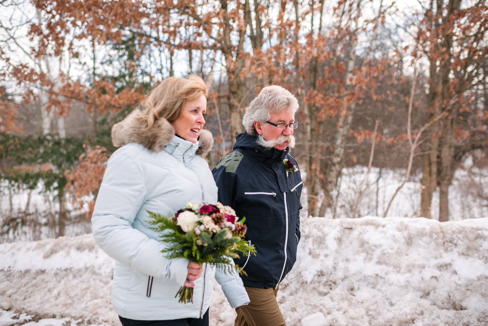 Rockport Village, ON Wedding Couple Photos | Brides bouquet had a very special necklace, which holds the ashes of her father
