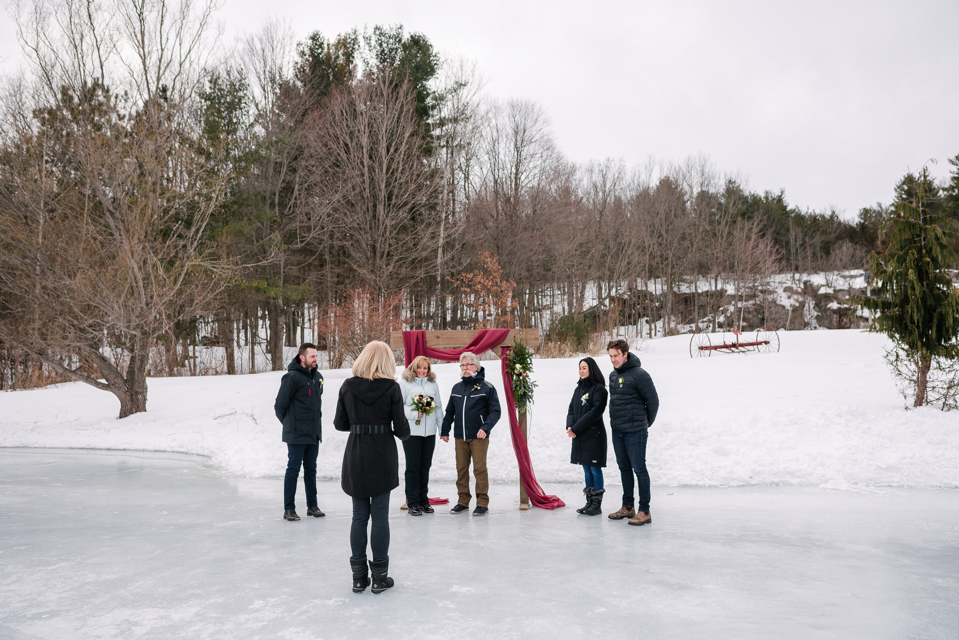 Rockport Barn in Mallorytown, Ontario (ON) Wedding Ceremony Pic | The ceremony was held right on the ice