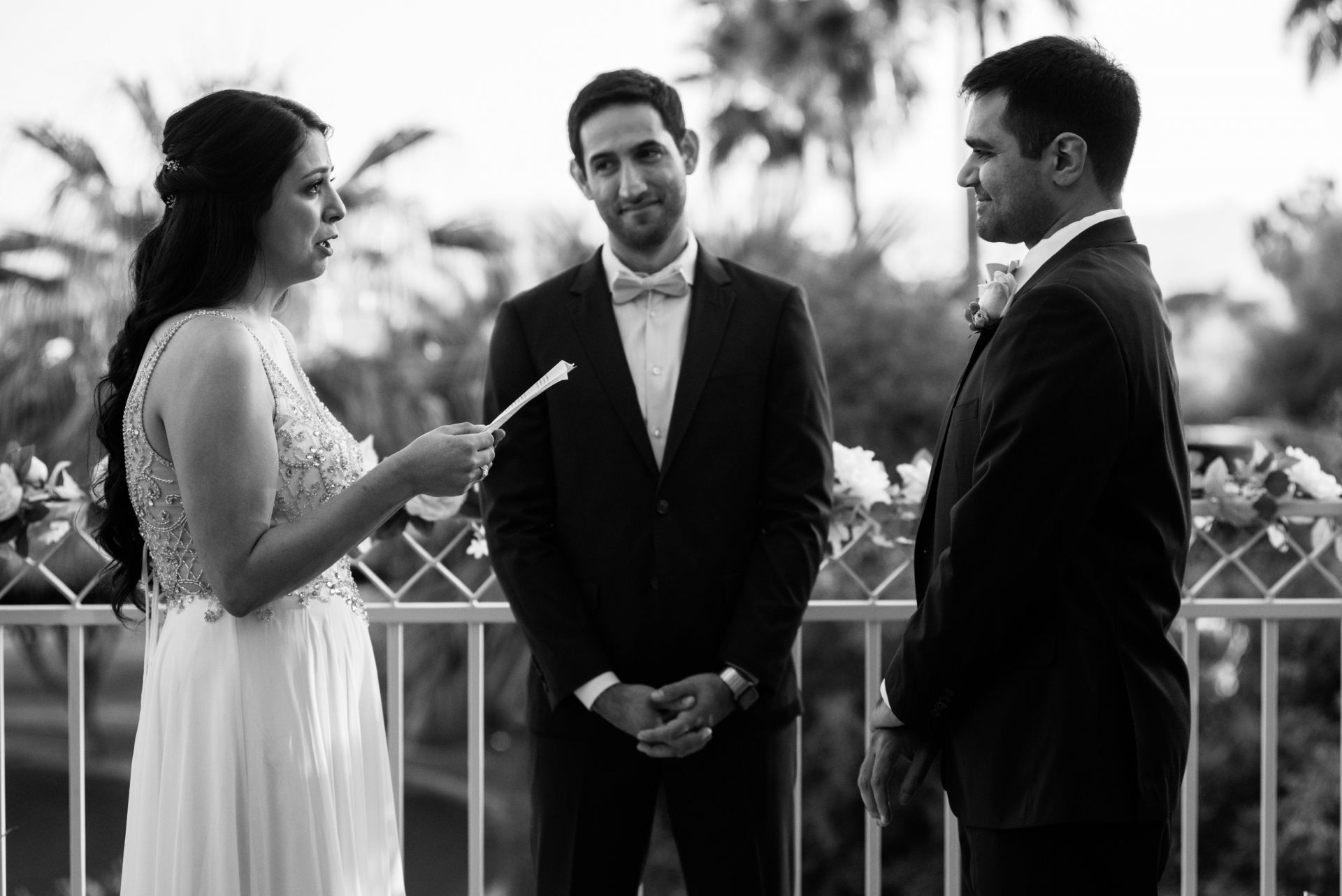 The Phoenician Resort Wedding Ceremony Picture | The couple look deep into one another's eyes