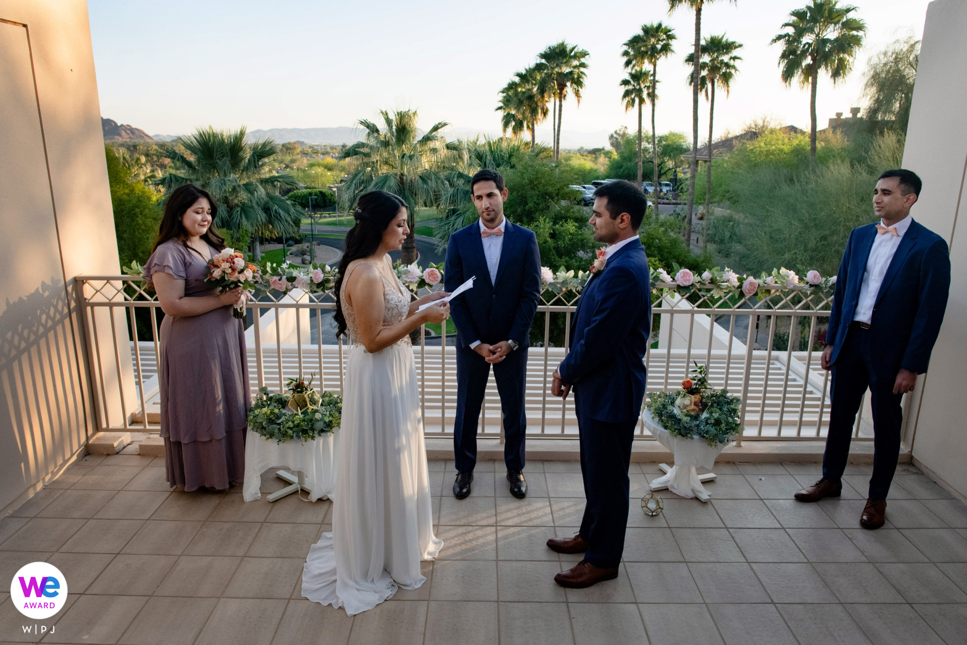 Luxury Wedding Photos from a Scottsdale Venue | private balcony ceremony at the Phoenician Resort in Arizona