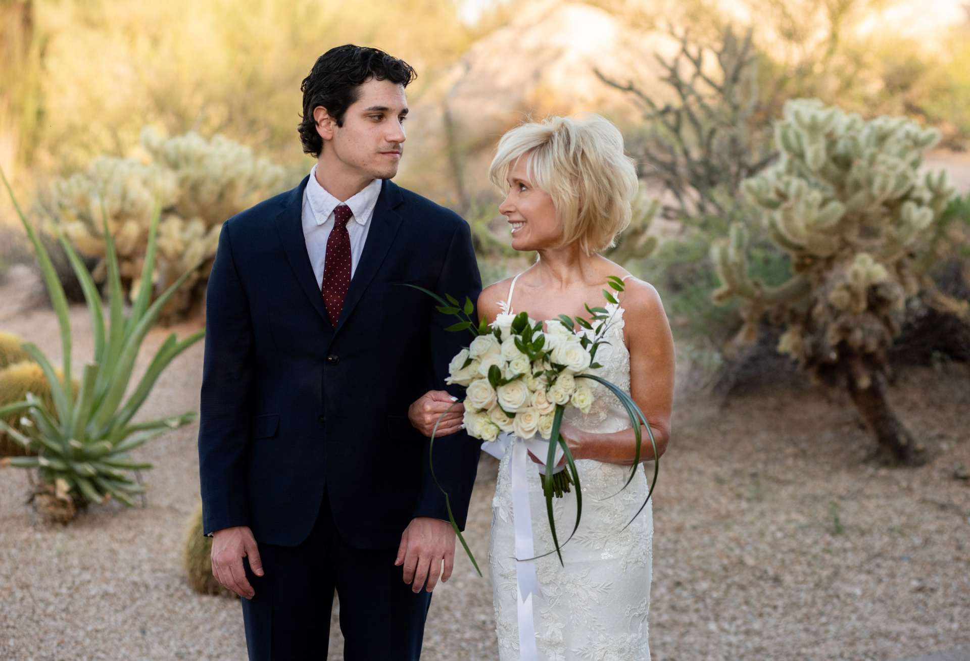Boulders Resort & Spa Scottsdale Venue Image of AZ | The bride glances at her son with a look of anticipation