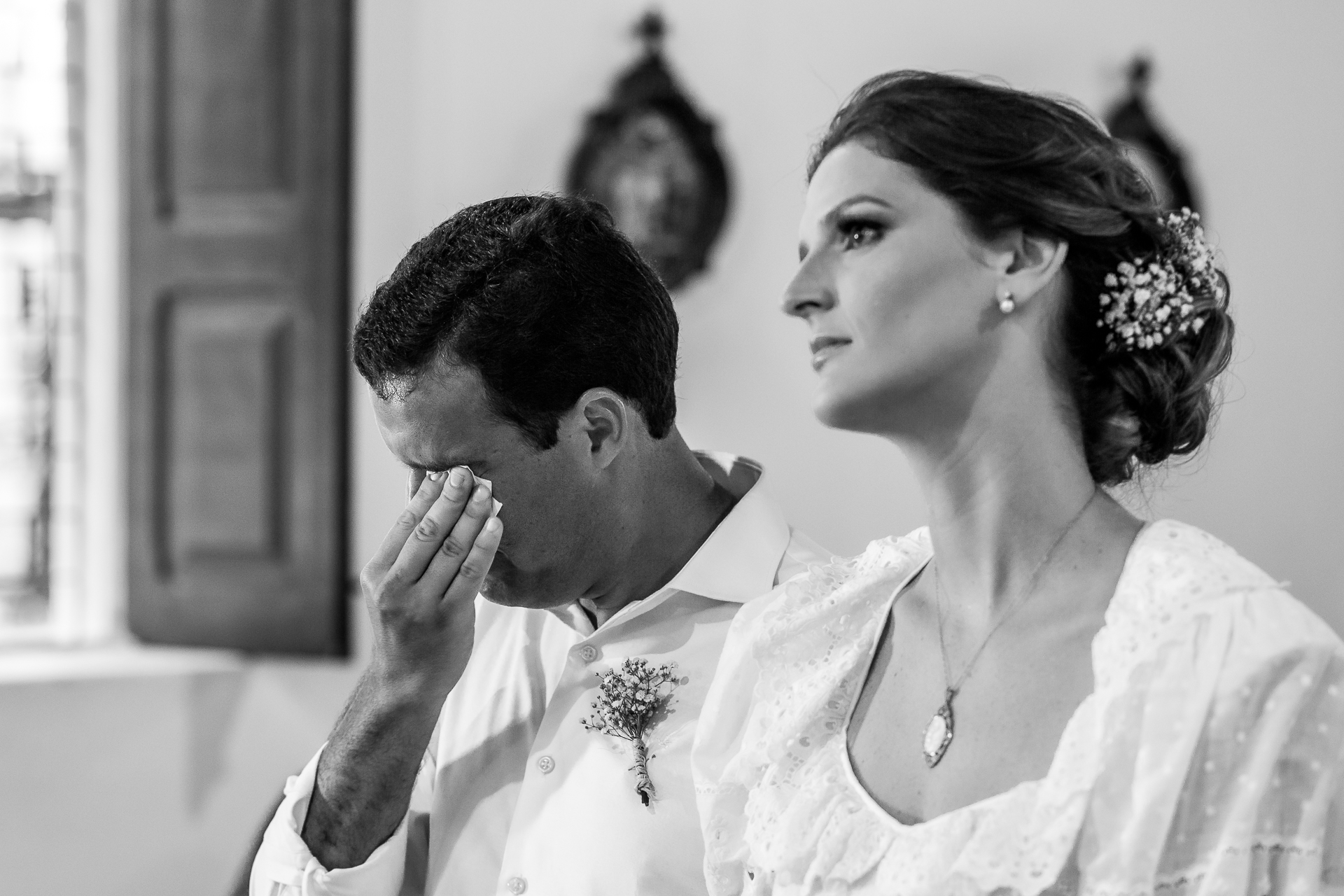 São Gonçalo Church Pic from a Maceio Wedding | The groom wipes away a tear during the ceremony