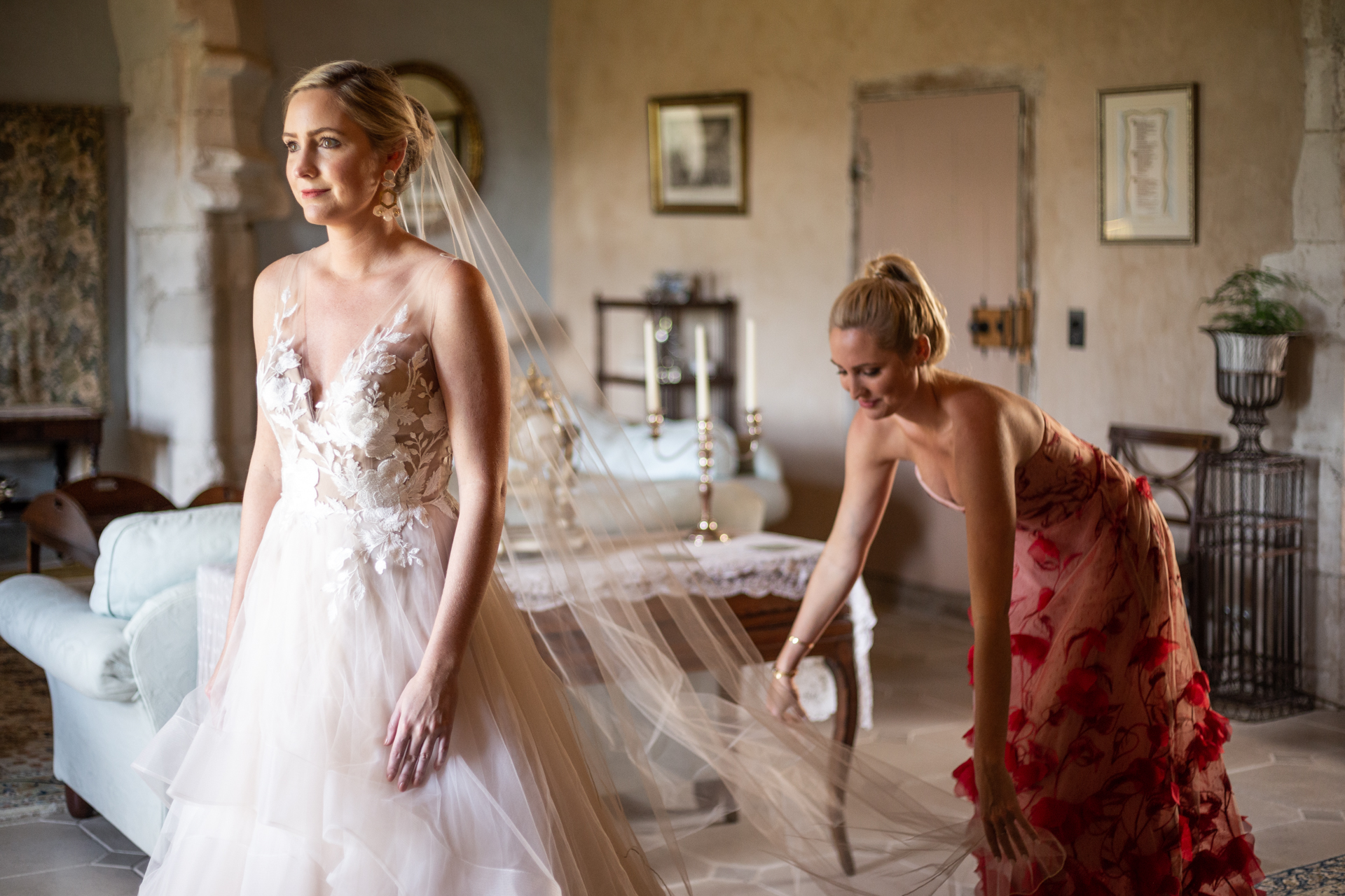 Bride Wedding Picture from Chateau de Brametourte | The brides sister helped her to get ready