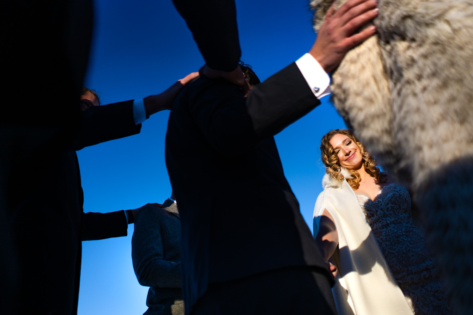 Williams Creek Reservoir, Pagosa Springs, Colorado Wedding Pic | surrounded by close friends and family during a prayer