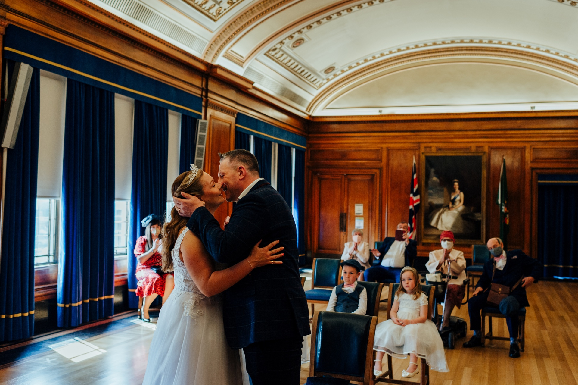 Nottingham City Council Wedding Ceremony Picture | The bride and groom share a tender kiss
