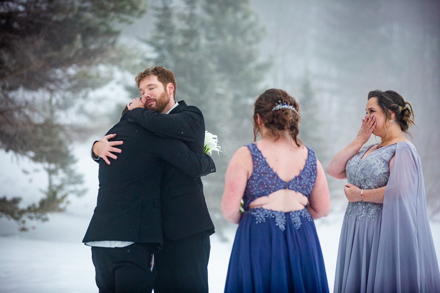 A Winter Rocky Mountain National Park Wedding   The bride's children told their step dad what his presence in their lives had meant to them