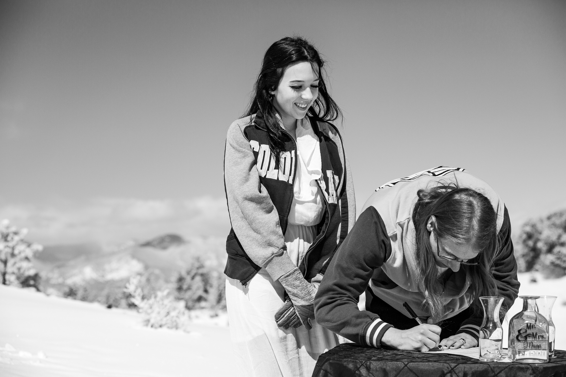 Colorado Mountains Wedding Photo in BW | The couple giggles and jokes together