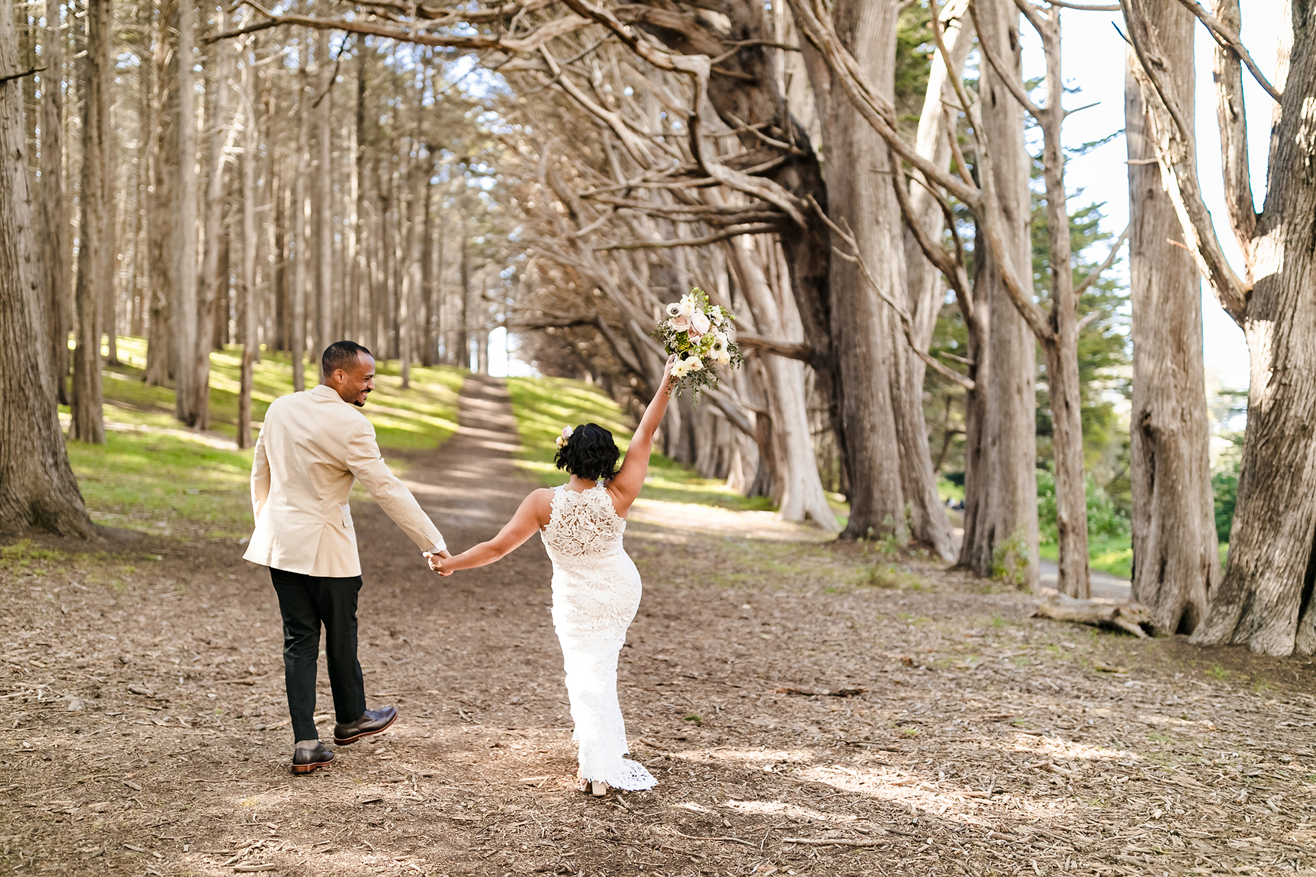 Seal Cove Inn, CA Wedding Couple Portraits Outdoors | Holding hands and walking toward their own personal forever