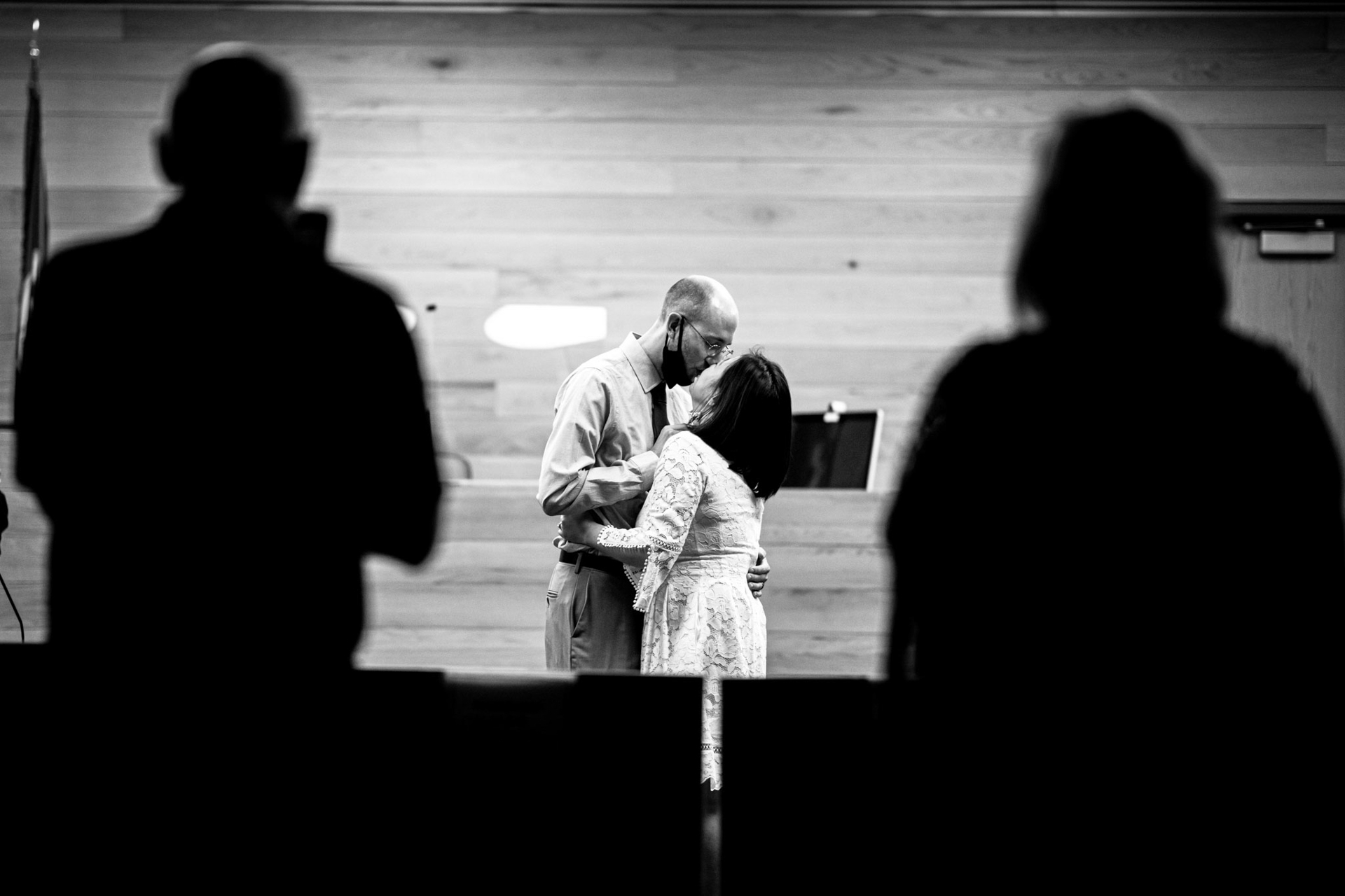 MN Intimate Courthouse Wedding Photography | The couple's first kiss