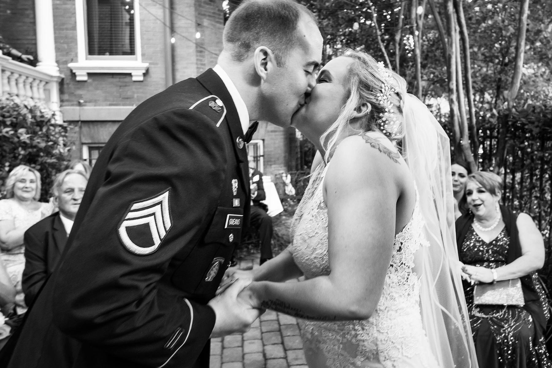 Wedding Ceremony Photography in Savannah, GA | The traditional kiss