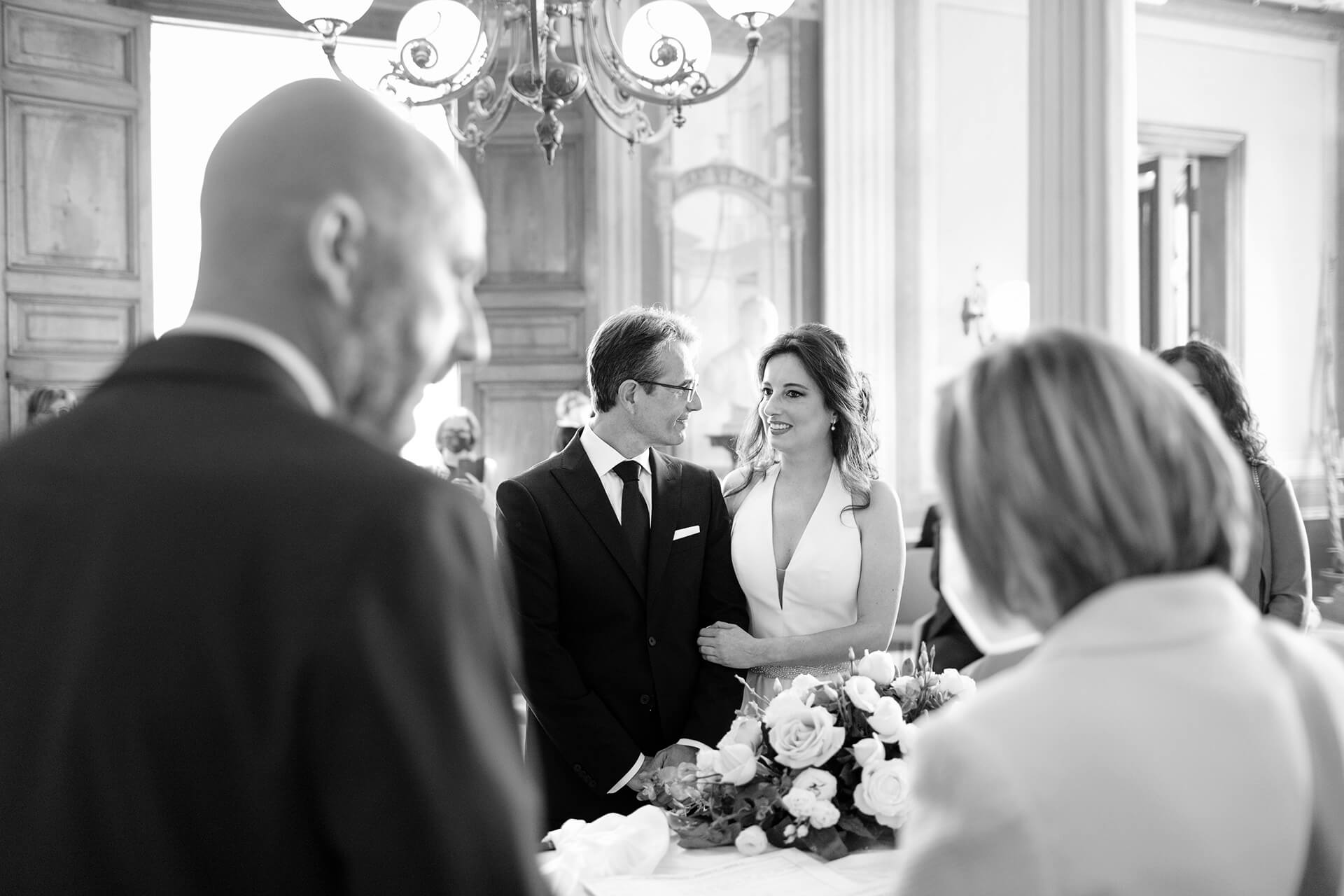 Italy, Sicily, Trapani Wedding Ceremony Image | Black and white photo for the civil wedding at the Town Hall