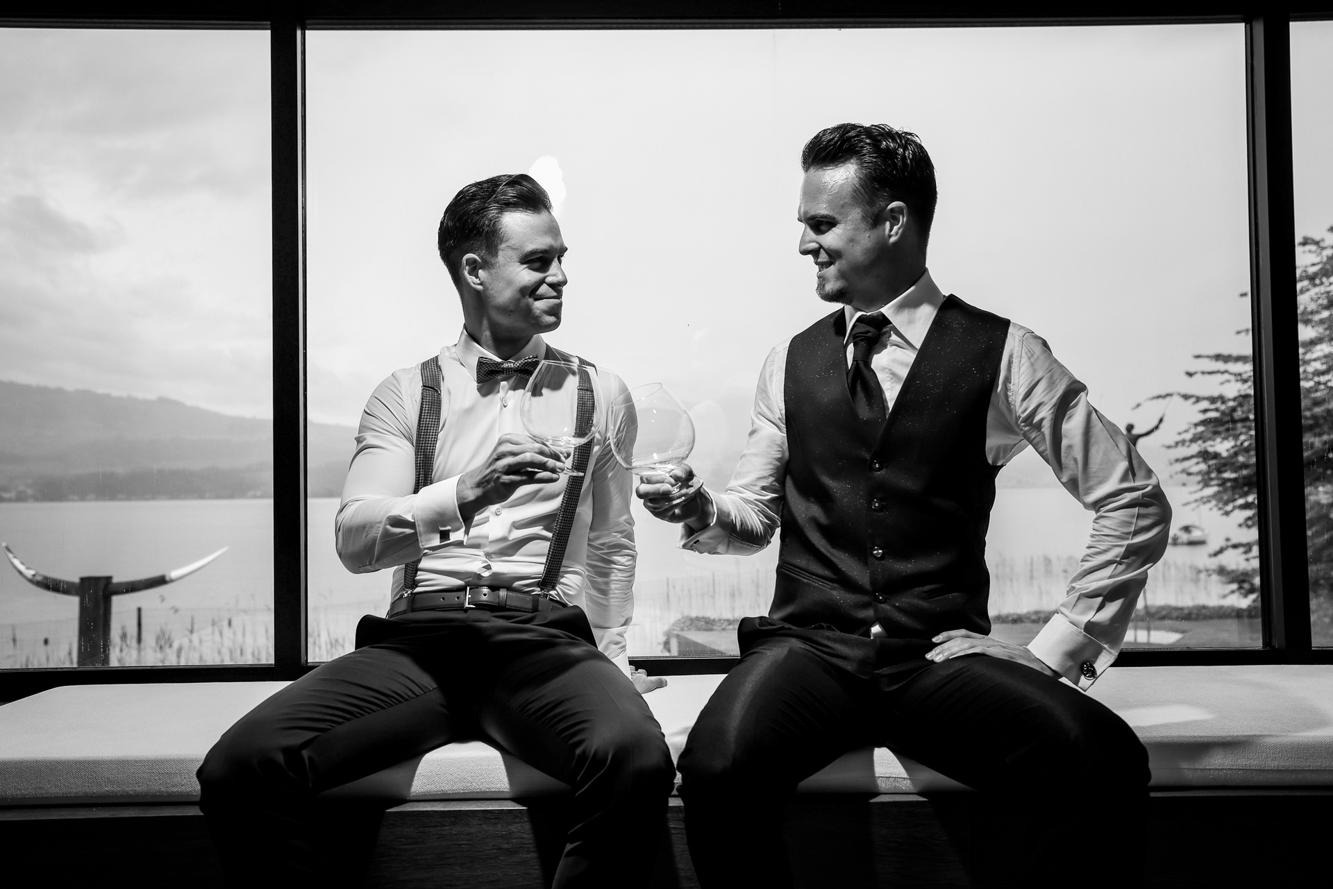 Wedding Picture of Groom in Switzerland | to quell those pre-wedding jitters