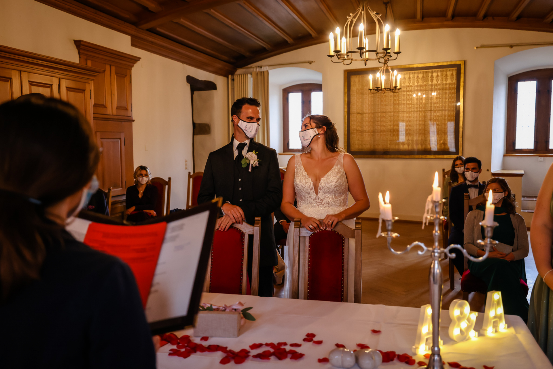 Rapperswil Switzerland Castle Wedding  Photos | The couple as well as their guests wear face masks