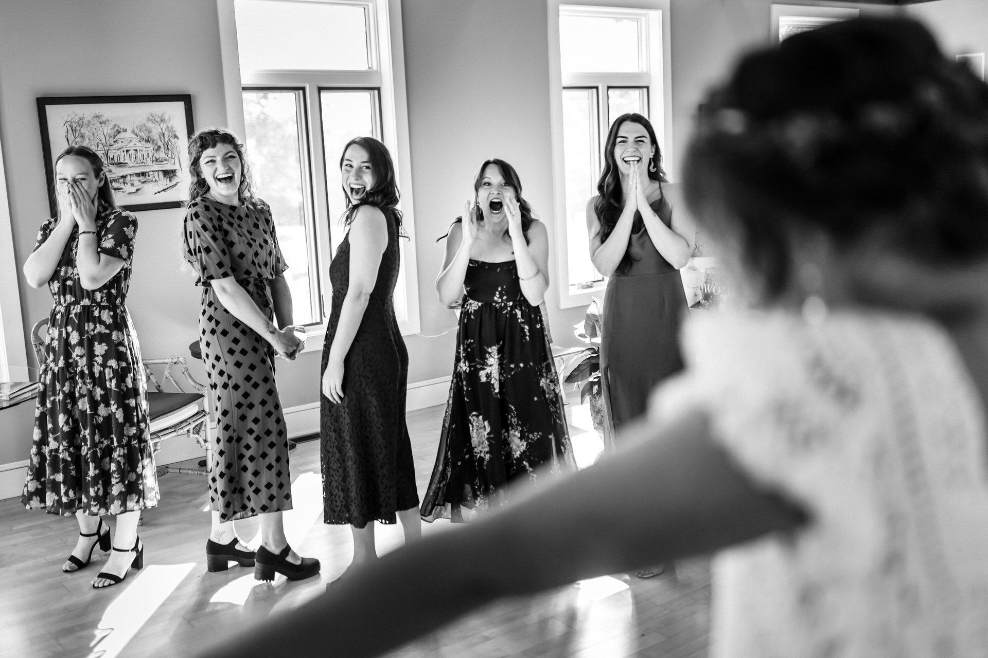Charlottesville Wedding Photography | The bride surprised her bridesmaids with an early peek