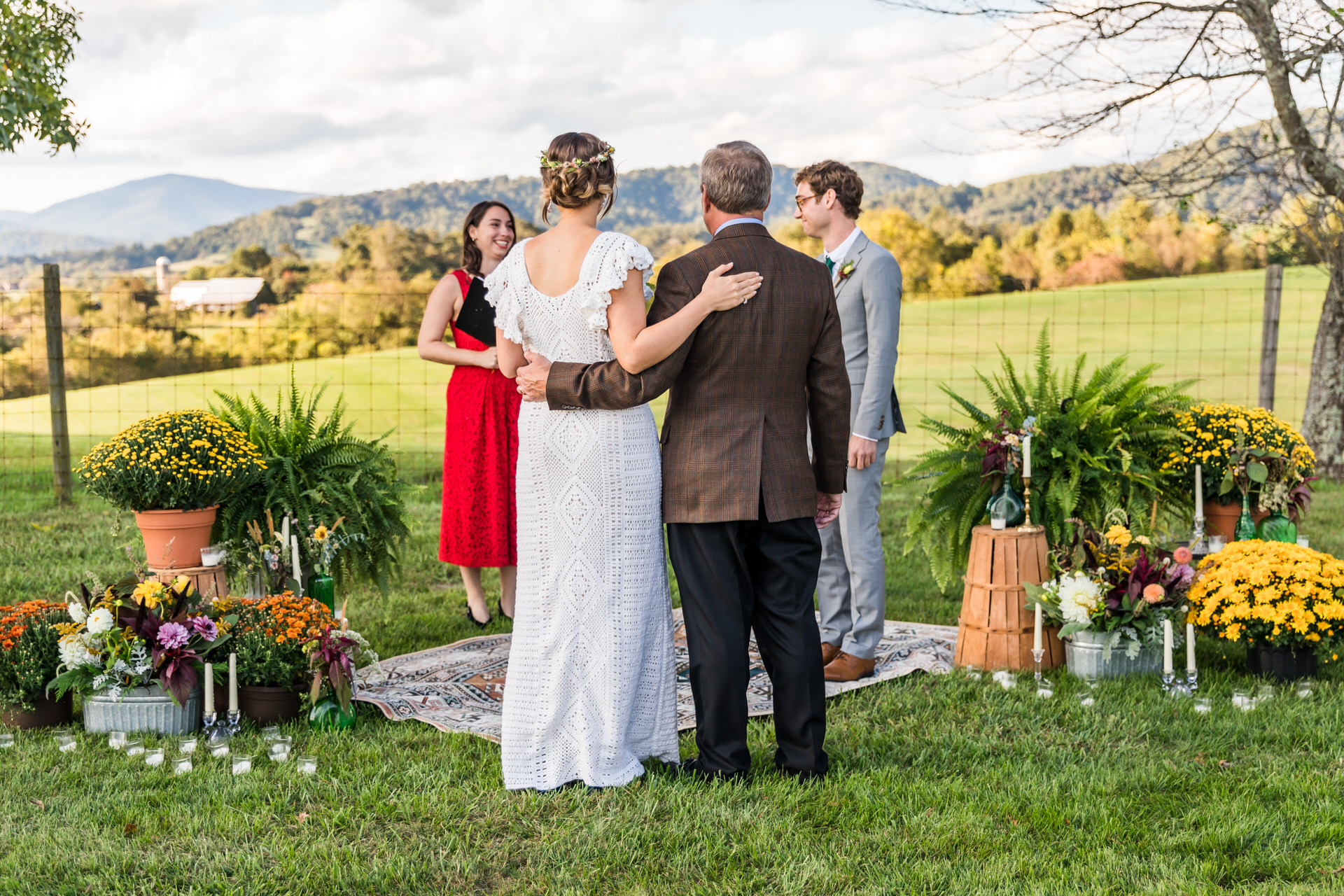 Backyard Vows - Charlottesville VA Wedding Photographer | Bride and Dad walking up the aisle