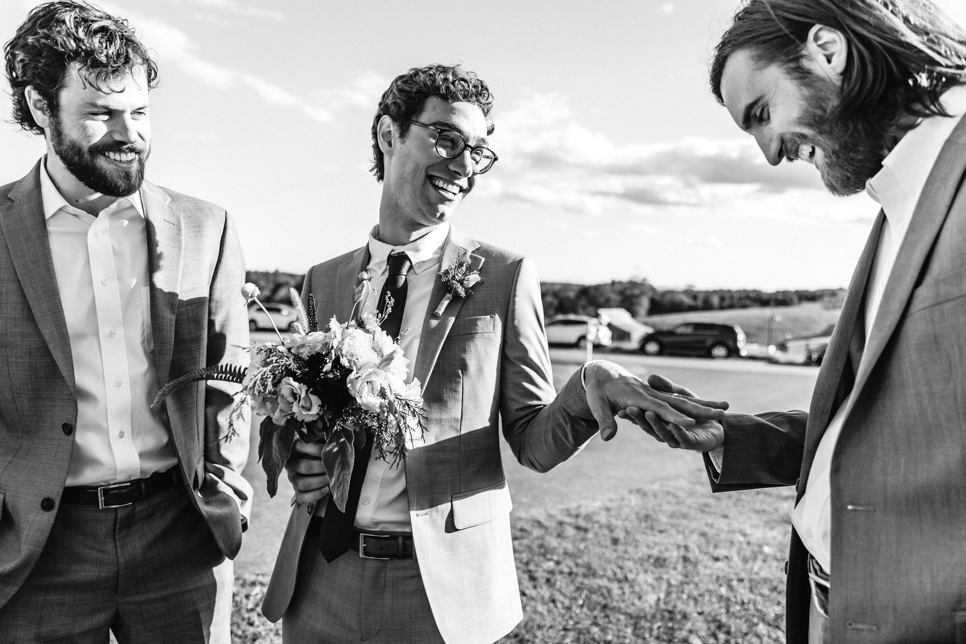Wedding and Event Photography for Charlottesville, VA | The groom lovingly mocking the way the bride is showing off her ring