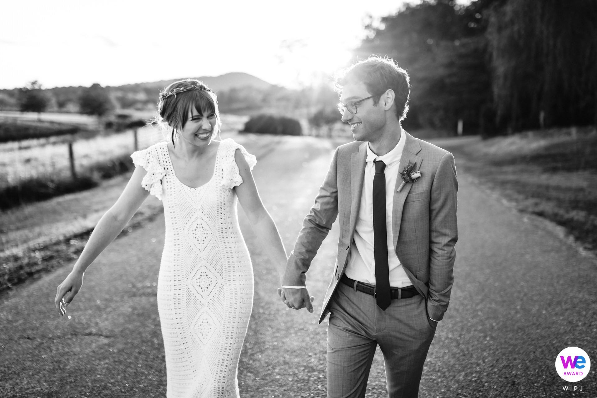 Wedding Couple Portrait in Charlottesville, VA | Sunset portrait of the bride and groom