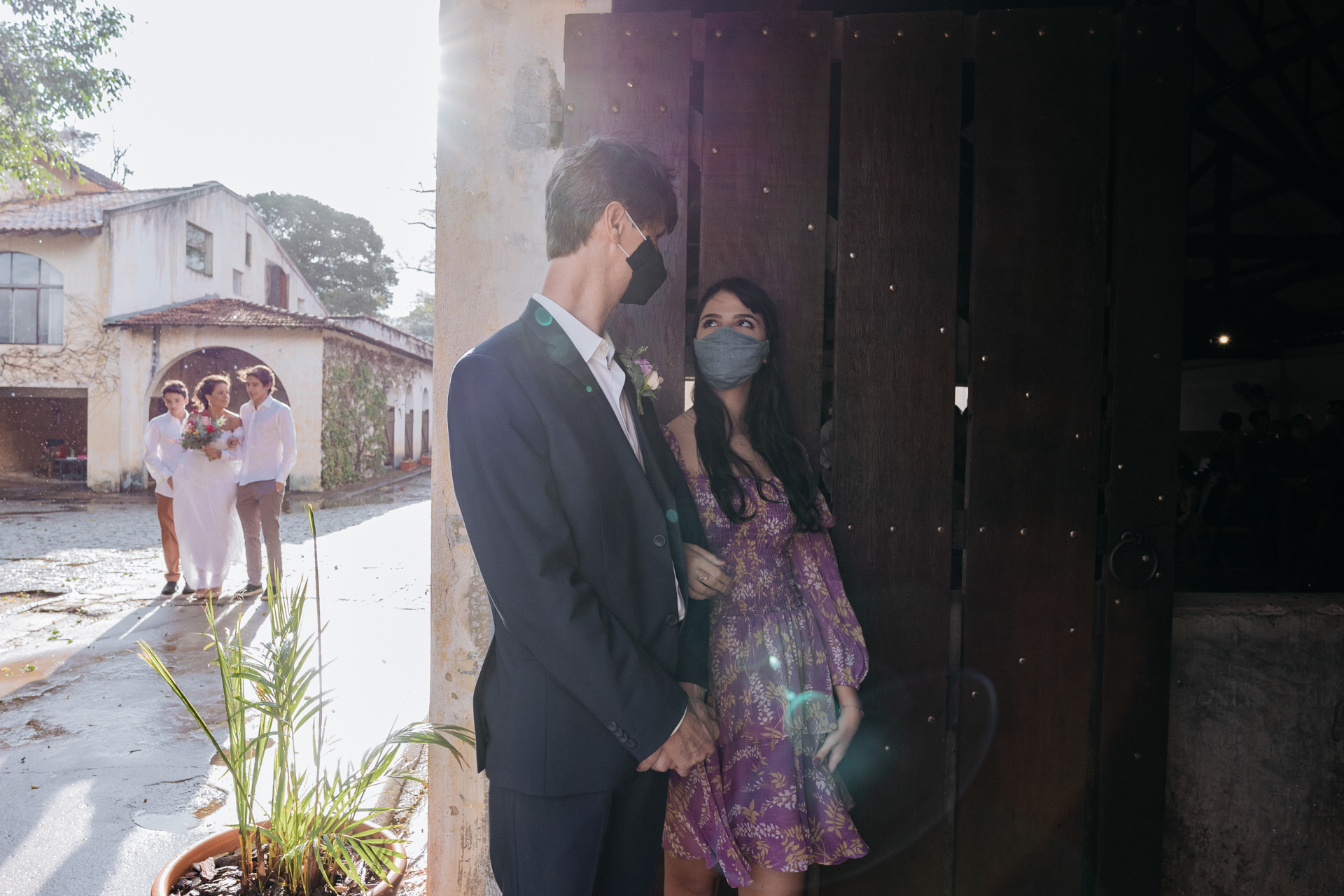 Wedding Images - Maristela Farm, Sao Paulo Brazil | The groom waits to enter the ceremony with his daughter