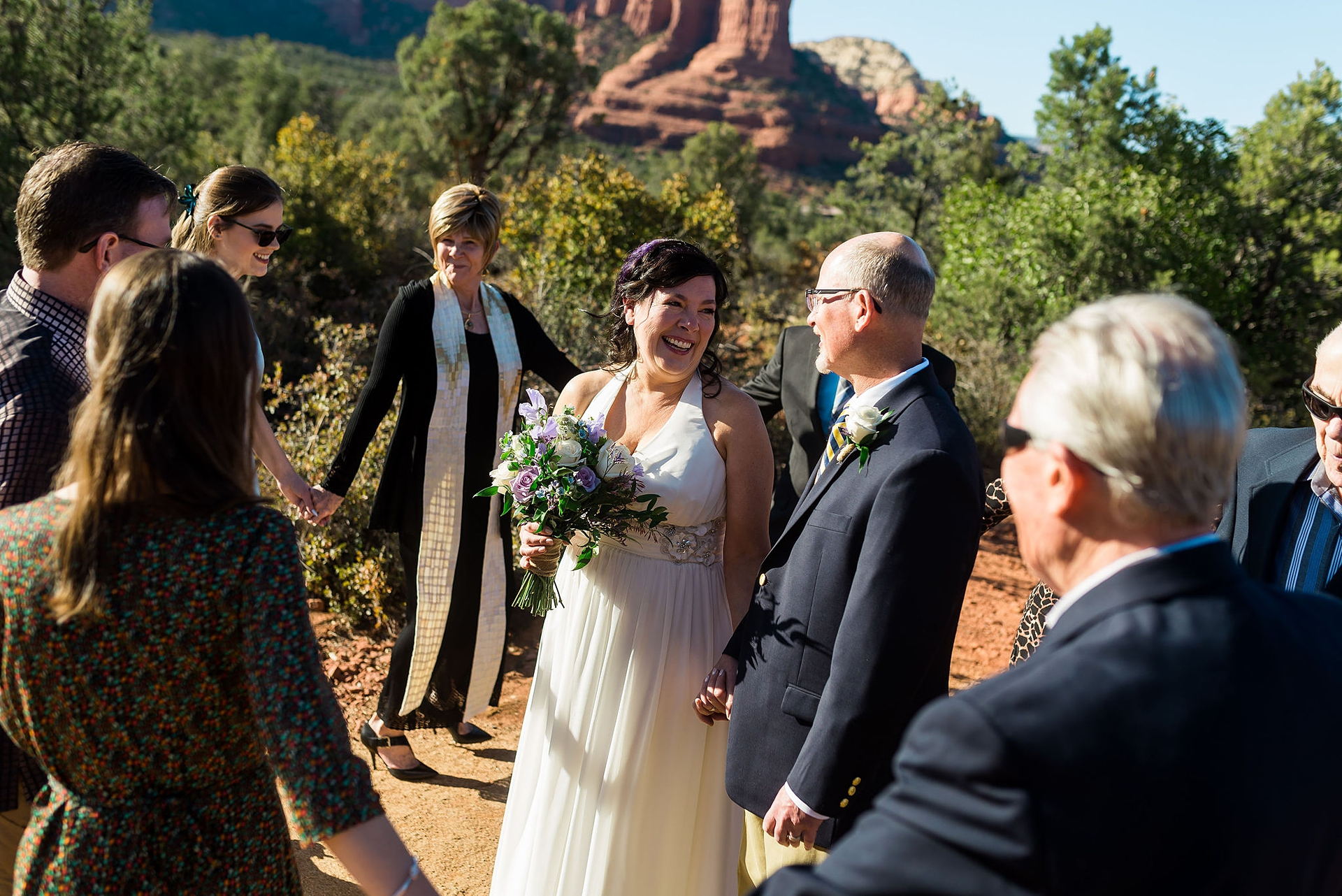 Sedona Arizona Wedding Ceremony Pictures | The bride and groom are surrounded by their family members