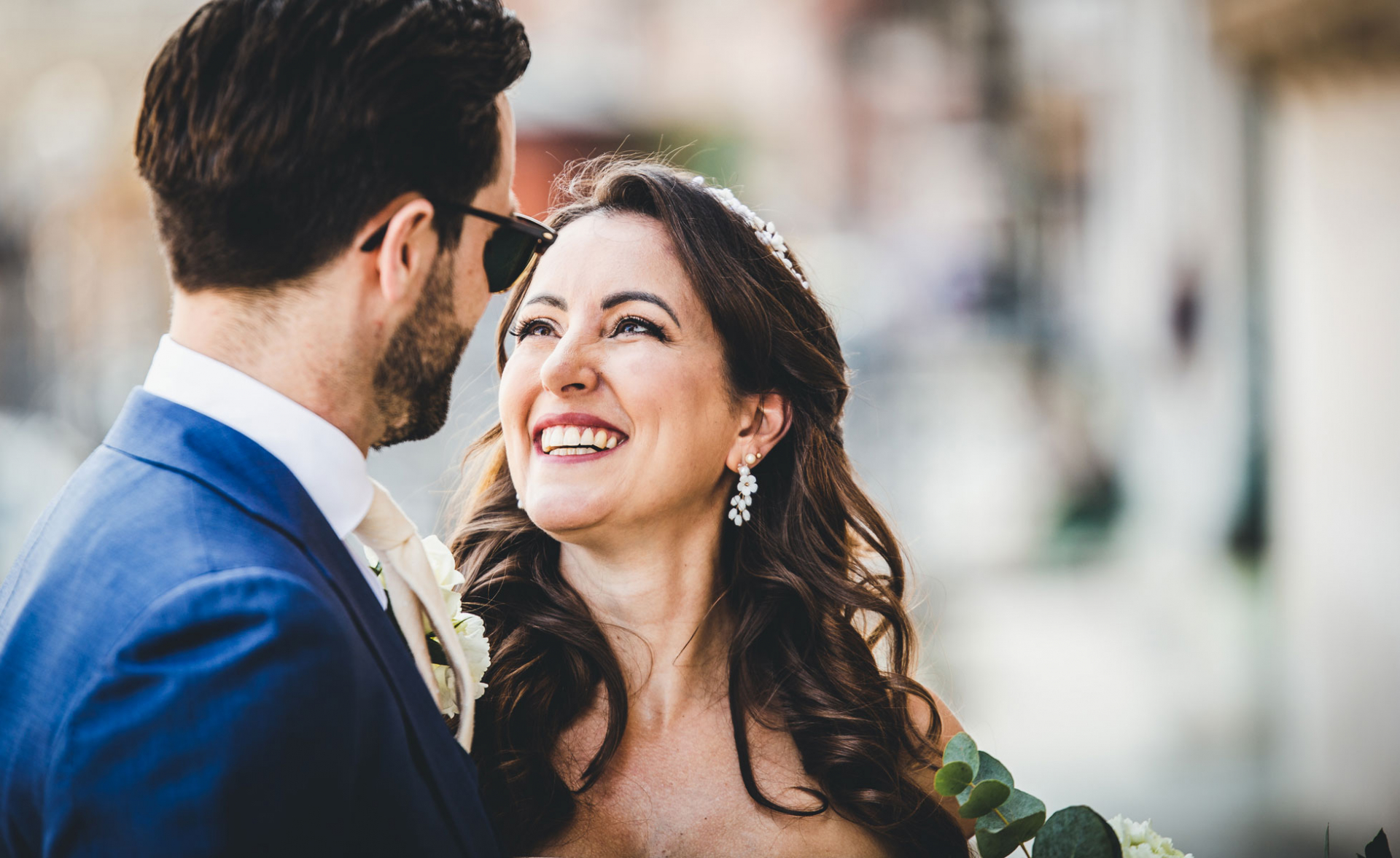 Bauer Palazzo Wedding Image from Venice, Italy | Looking up at the man who will become her husband