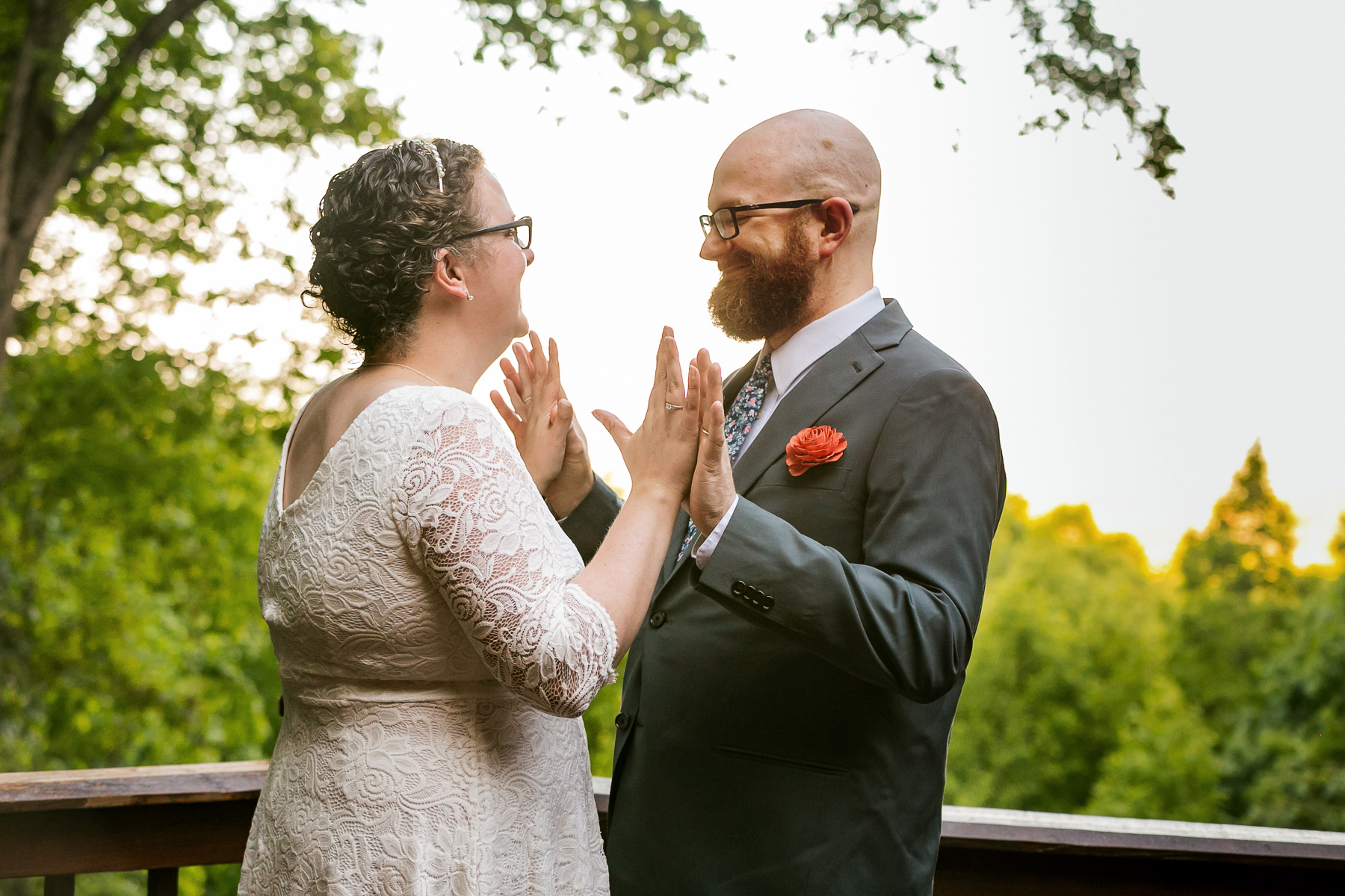 Northern Georgia Outdoor Wedding Picture | The newlywed couple celebrate together
