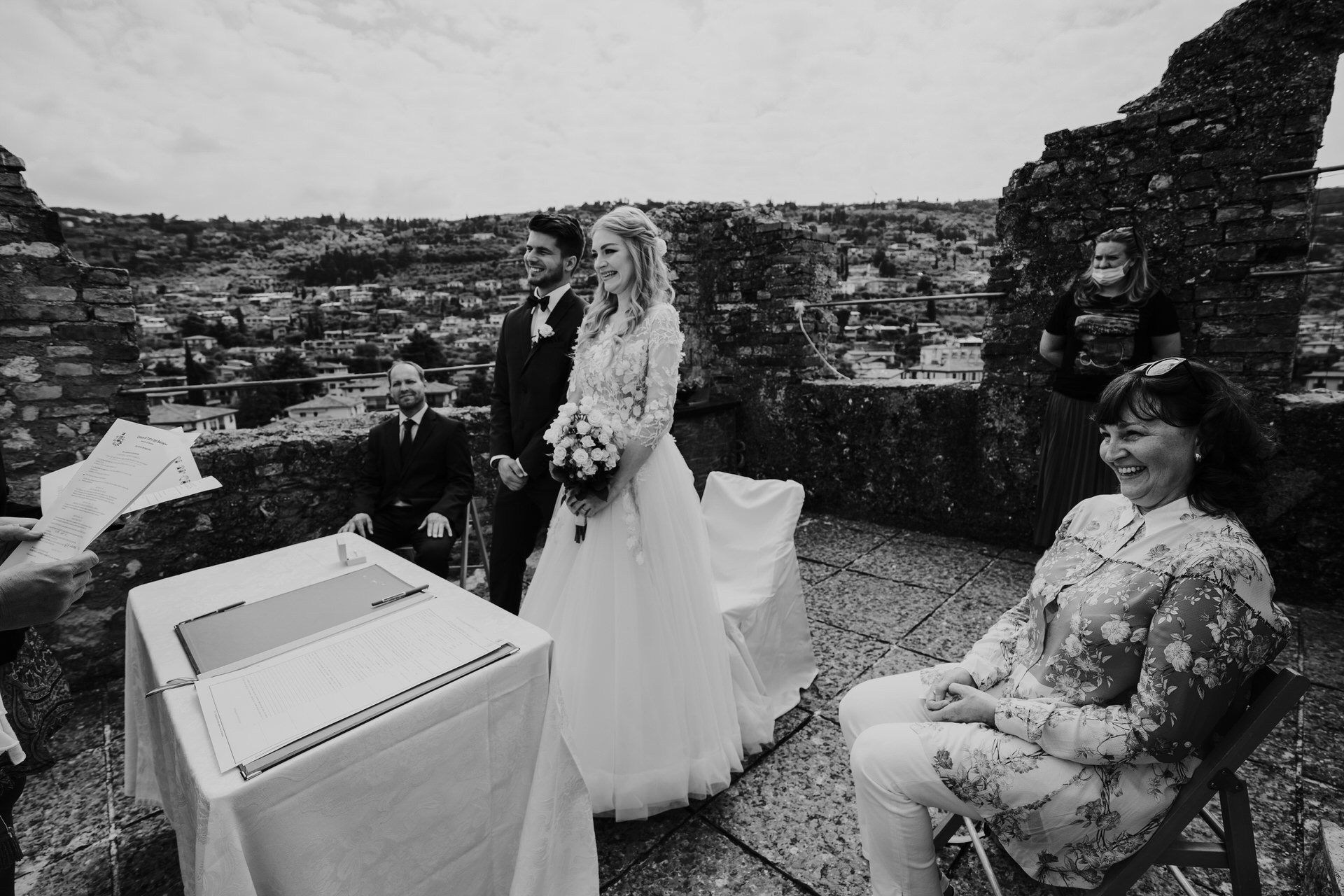 Lake Garda - Italian Lakes Wedding Ceremony Picture in BW   Standing atop the tower of the Scaliger Castle