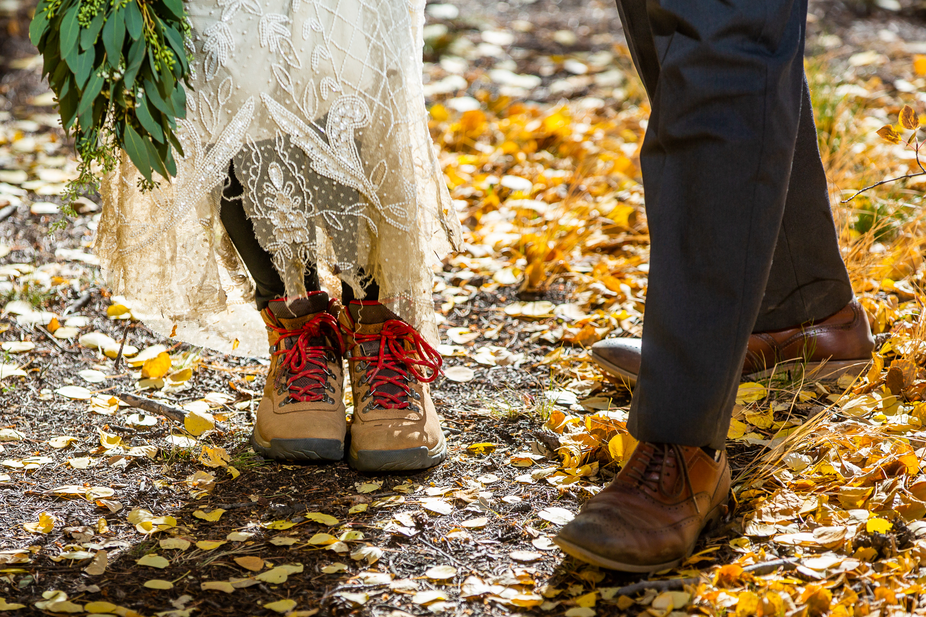 Fall Ceremony Photography, Colorado Weddings   The couple are no strangers to hiking boots