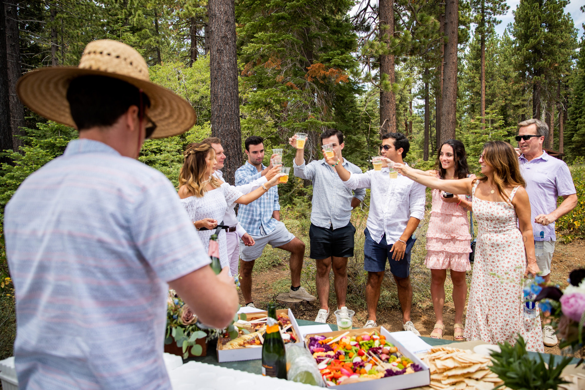 Lake Tahoe, California - Skylandia Park Outdoor Wedding Pic   After the ceremony the bottle of champagne has been popped and poured
