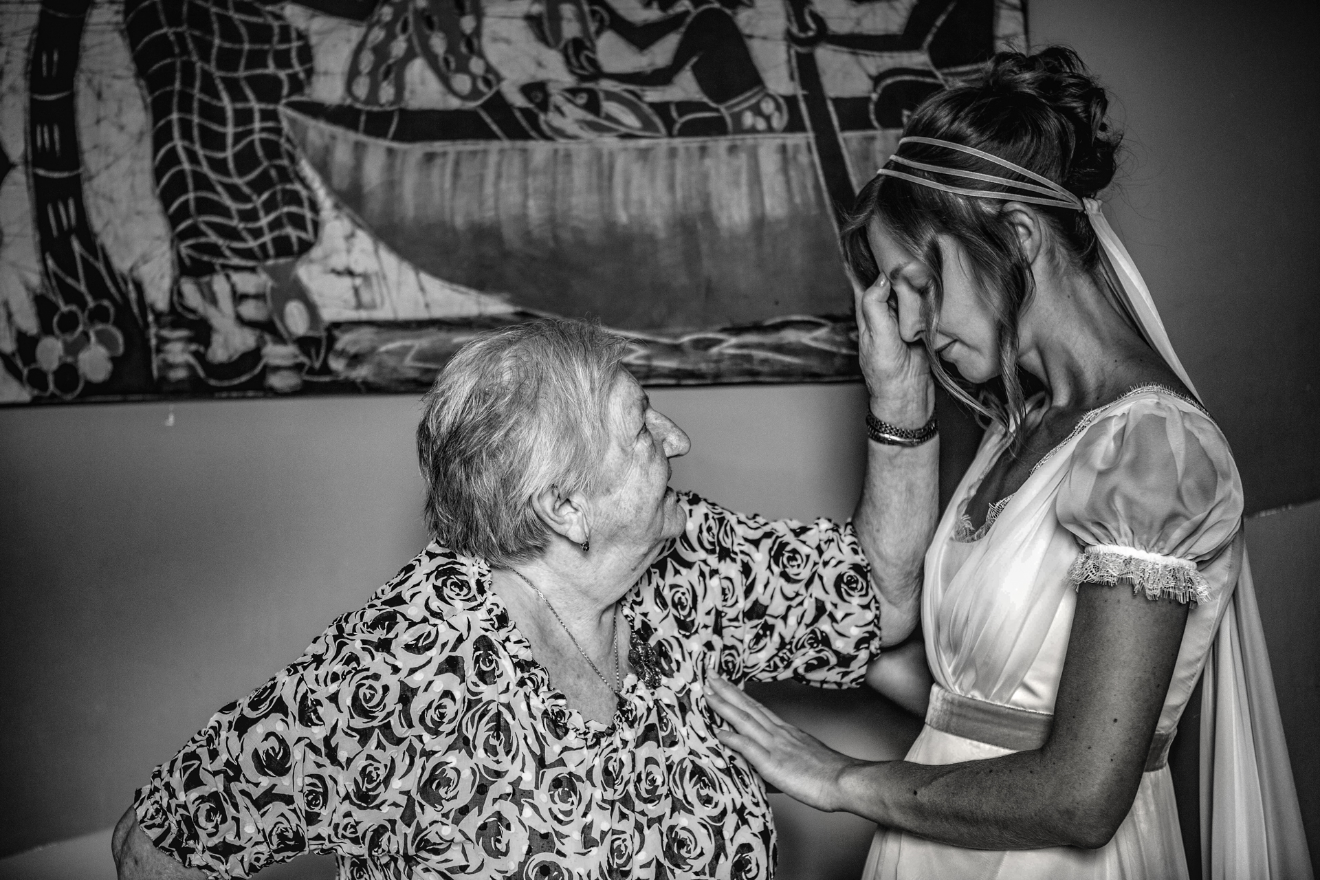 Destination Italian Wedding Photo in BW | The brides grandmother offers her a traditional Slovakian blessing