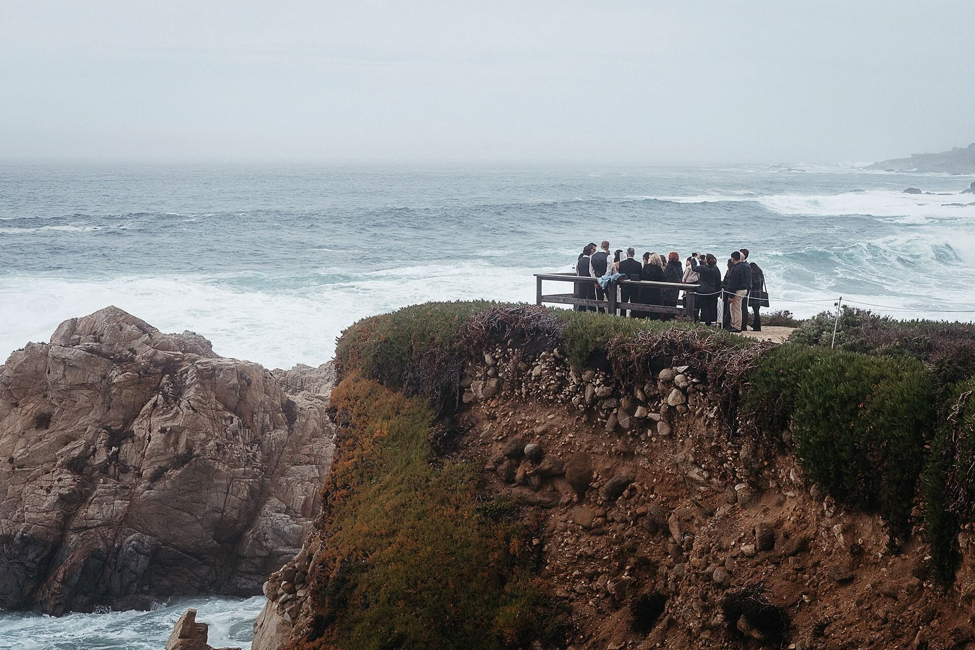Garrapata State Park wedding ceremony pictures   The fog rolled in as the waves crashed below