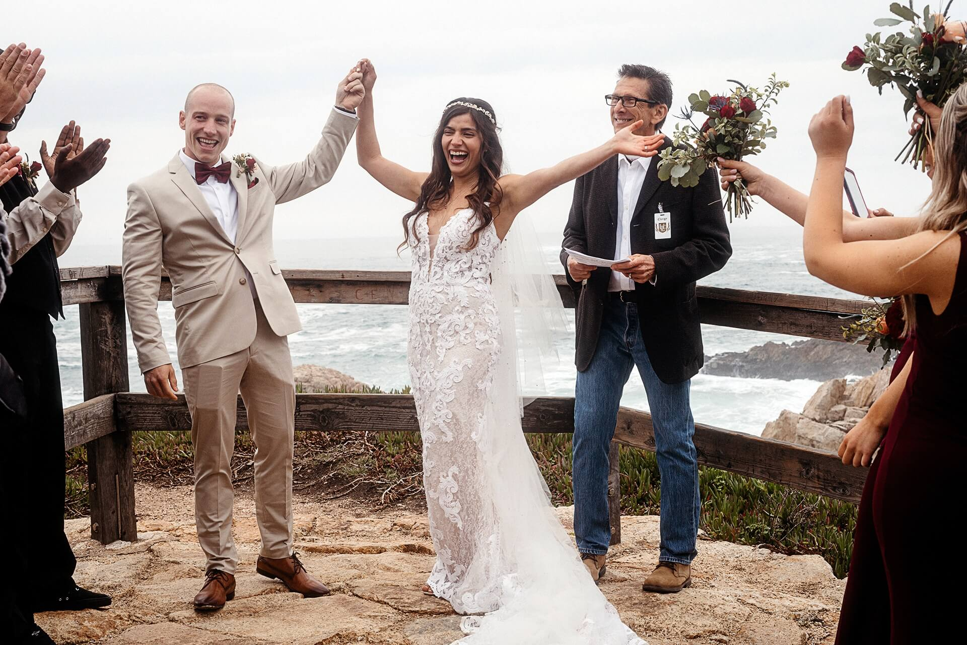 Big Sur, California outdoor ceremony wedding pics   A close family friend became ordained in order to marry the couple