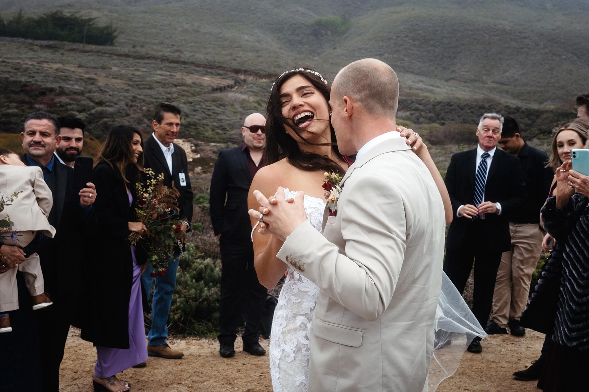 Intimate Big Sur wedding image   The couple had their first dance right there on the cliff edge